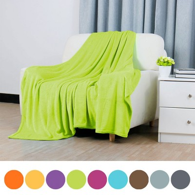 1 Pc Full/Queen Polyester Flannel Fleece Bed Blankets Yellow Green  - PiccoCasa