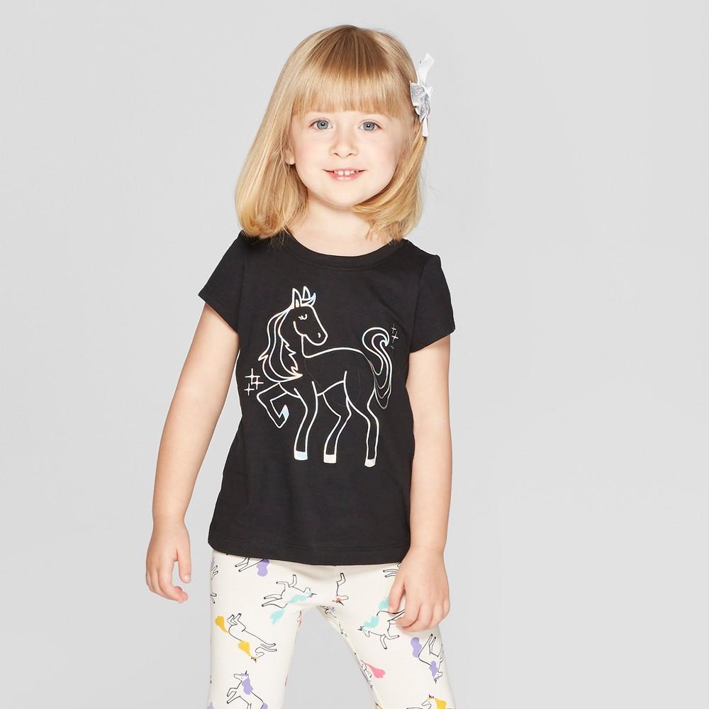 Toddler Girls' Short Sleeve 'Pegasus' Graphic T-Shirt - Cat & Jack Black 12M