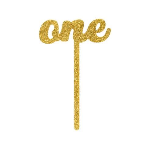 Glitter Cake Topper Gold - Spritz™ - image 1 of 2