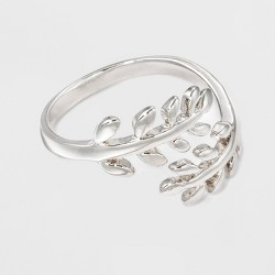 Silver Plated Leaf Bypass Ring - A New Day™ Silver