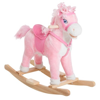 Qaba Kids Plush Toy Rocking Horse Ride on with Realistic Sounds Pink