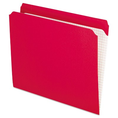 Pendaflex Reinforced Top Tab File Folders Straight Cut Letter Red 100/Box R152RED