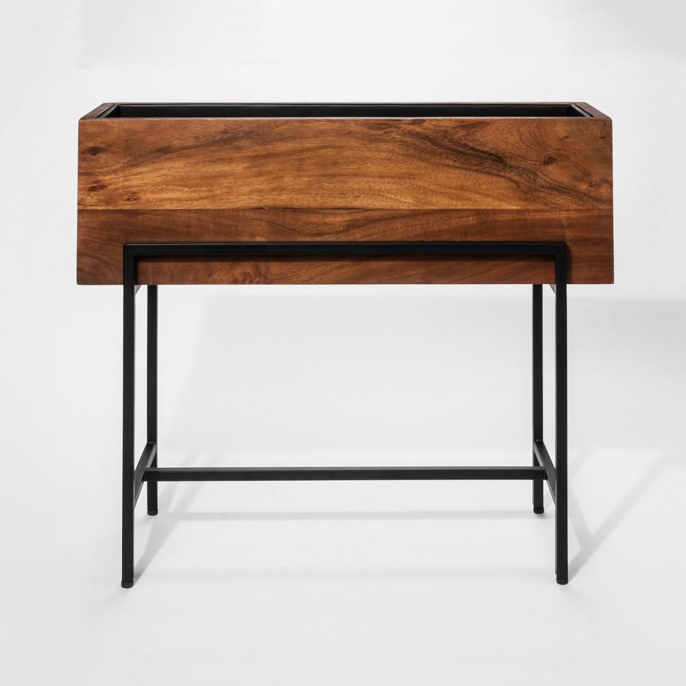 Walnut (Brown) Wood & Metal Indoor Planter - Project 62