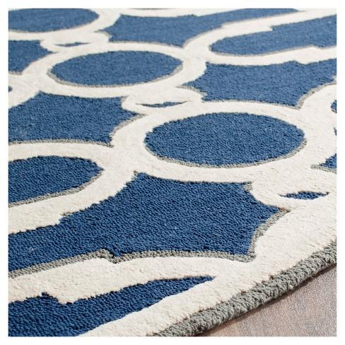 Royal Blue White Geometric Hooked Round Area Rug 6 Safavieh Target