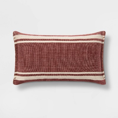 Wool/Cotton Blend Stripe Oversize Lumbar Pillow with Whipstitch Trim Berry - Threshold™