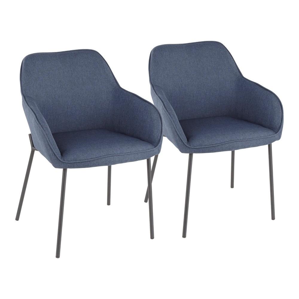 Set of 2 Daniella Contemporary Dining Chair Black/Blue - LumiSource