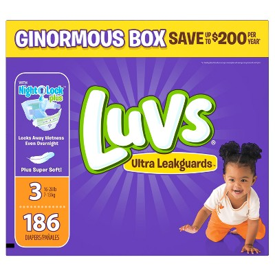 Luvs Diapers, Ginormous Pack - Size 3 (186 ct)