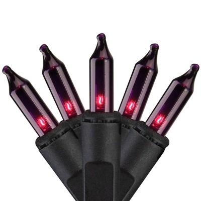 Brite Star Set of 100 Purple Mini Icicle Christmas Lights - 7.8ft Black Wire