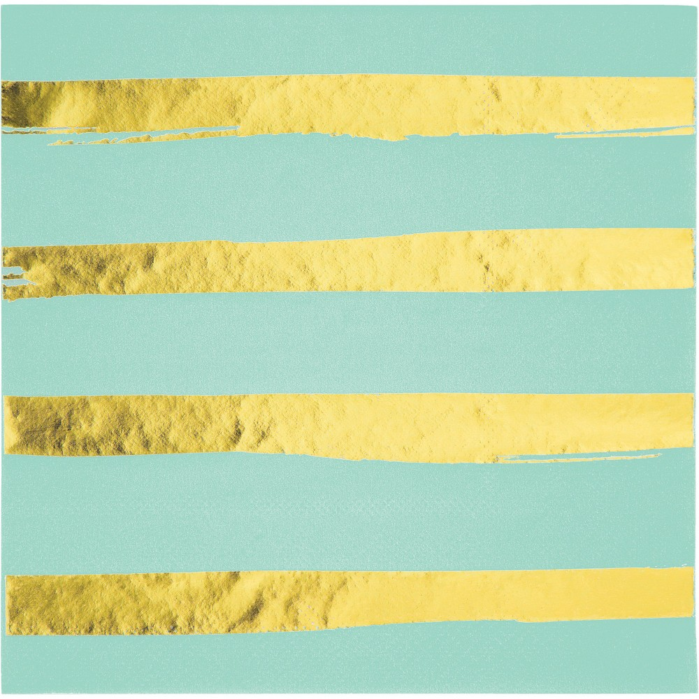 Image of 16ct Creative Converting Fresh Mint Green and Gold Foil Striped Napkins, Multi-Colored