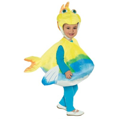 Toddler Build-A-Bear Splish Splash Fishy Cuddles Belly Halloween Costume Blue/Yellow