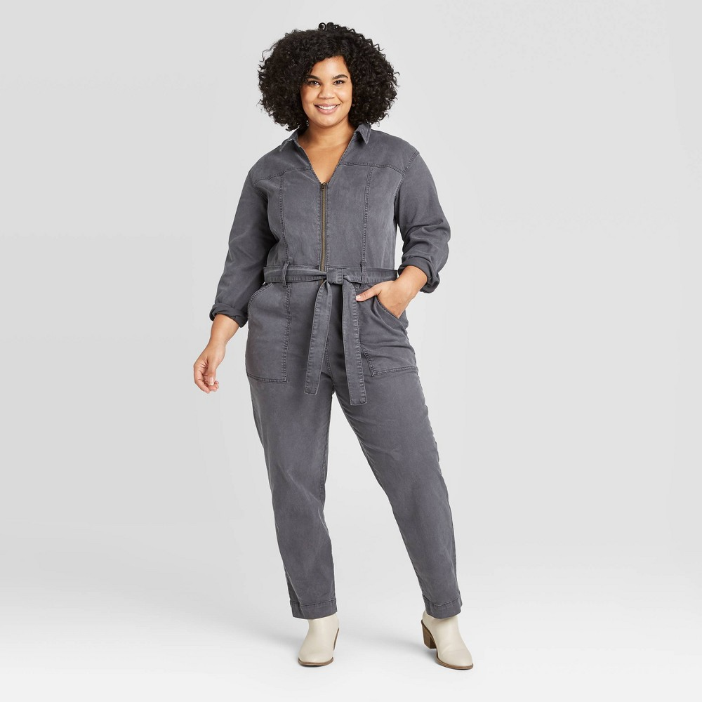 Women's Plus Size Long Sleeve Collared Boilersuit - Universal Thread Dark Gray 18W, Women's was $39.99 now $27.99 (30.0% off)