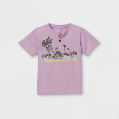 Toddler Boys' Palm Trees Boxy Henley Shirt - art class™ Purple
