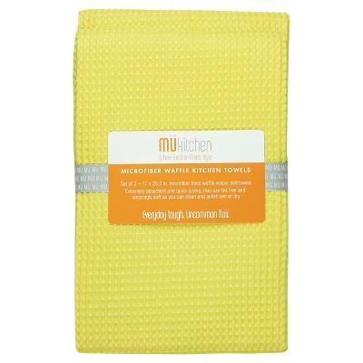 """2pk 17""""X25.5"""" Waffle Microfiber Kitchen Towel Yellow - Mu Kitchen"""