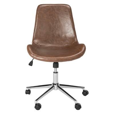 Fletcher Swivel Office Chair Brown/Chrome - Safavieh