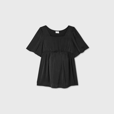Short Sleeve Satin Front Maternity Blouse - Isabel Maternity by Ingrid & Isabel™