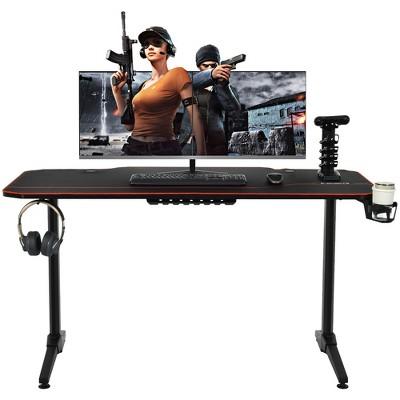 Costway 55'' Gaming Desk T-Shaped Computer Desk w/Full Desk Mouse Pad&Gaming Handle Rack Cup Holder&Headphone Hook
