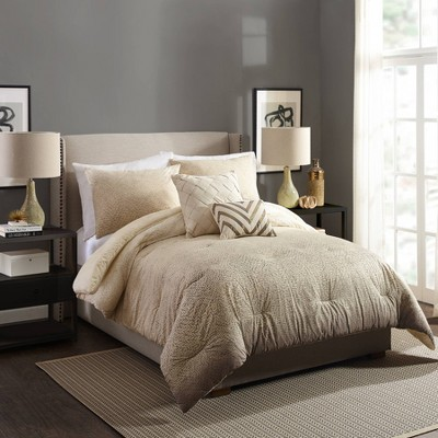 Ayesha Curry King Modern Ombre Comforter & Sham Set Taupe/Natural