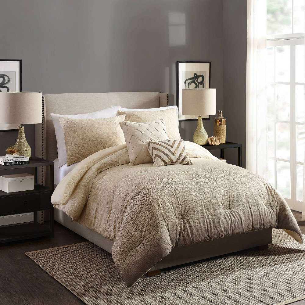 Image of Ayesha Curry Full/Queen Modern Ombre Comforter & Sham Set Taupe/Natural, Beige