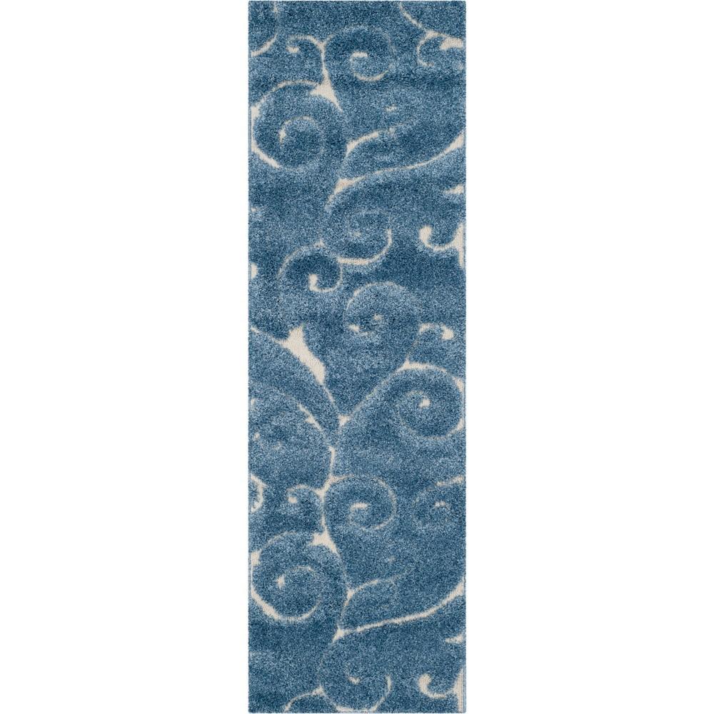 23x11 Runner Swirl Loomed Rug Light Blue/Cream - Safavieh Best