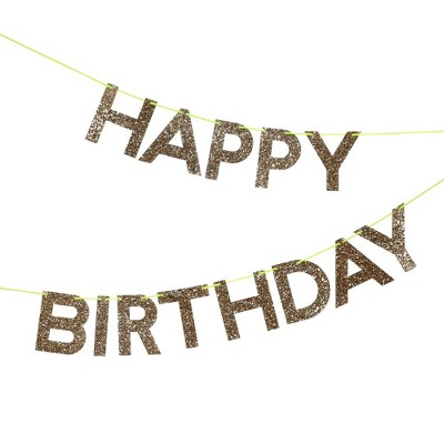 Meri Meri – Gold Glitter Happy Birthday Banner – Party Decorations and Accessories - 8'