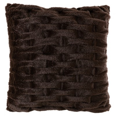 Ruched Faux Fur Square Throw Pillow