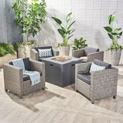 Maxwell 5pc Wicker Club Chair and Square Fire Pit Set - Mixed Black/Dark Gray - Christopher Knight Home