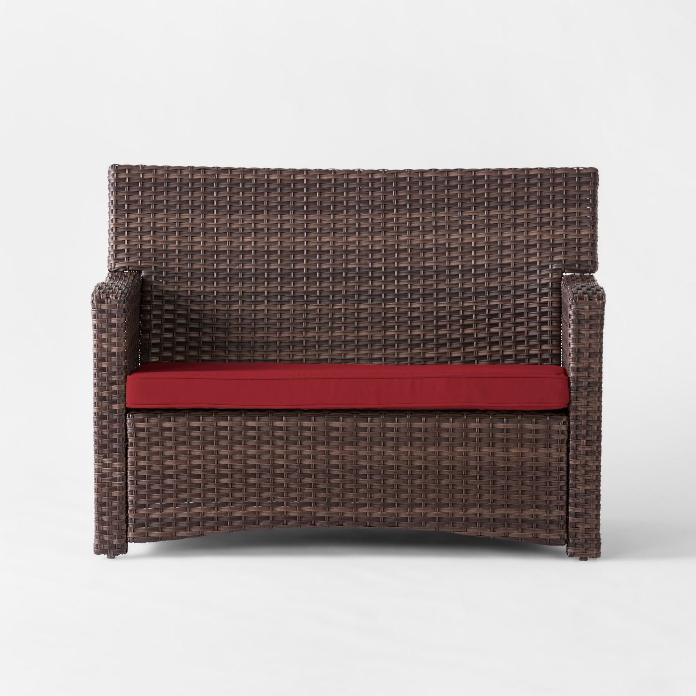 Threshold Halsted 4 Piece All-Weather Wicker Patio Conversation Set (Red)