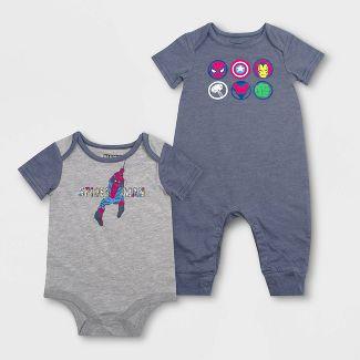 Baby Boys' Disney 2pc Avengers Rompers - Blue/Gray Newborn