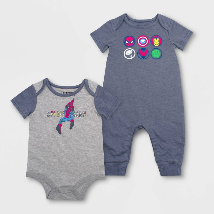 Baby Boys' Disney 2pc Avengers Rompers - Blue/Gray - image 1 of 1