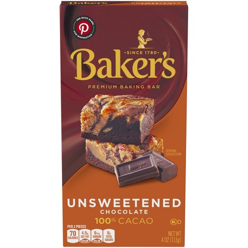 Baker's 100% Cacao Unsweetened Chocolate Baking Bar - 4oz - image 1 of 4