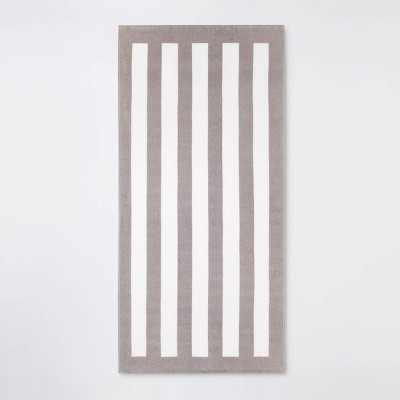 Cabana Stripe Beach Towel Gray/White - Sun Squad™