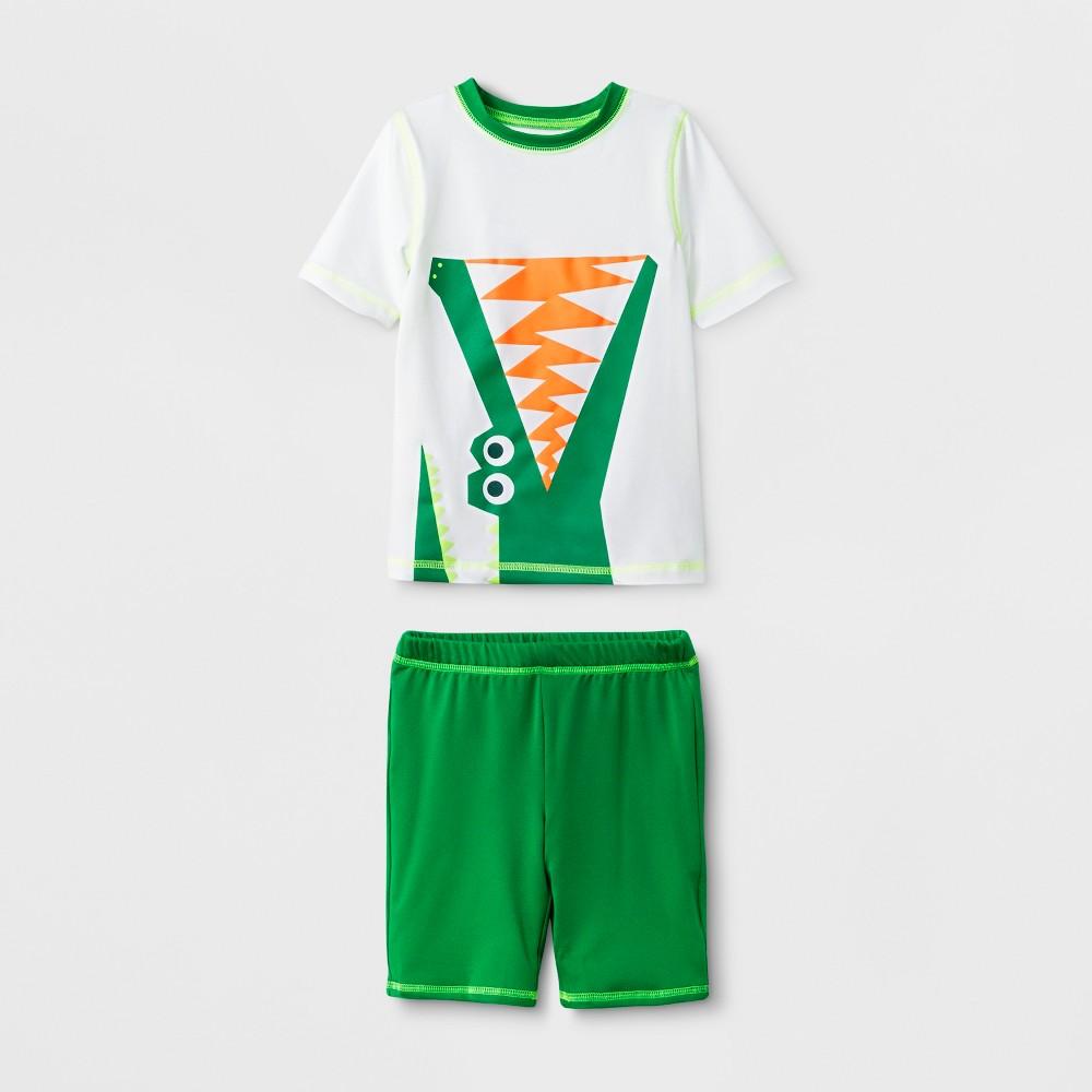 Toddler Boys' Short Sleeve Rash Guard with Shorts - Cat & Jack Green 2T