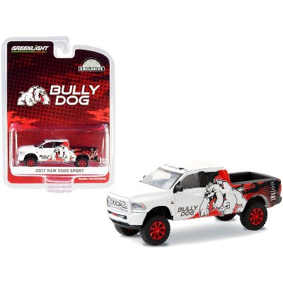 "2017 RAM 3500 Sport Pickup Truck ""Bully Dog"" White w/Black & Red Graphics ""Hobby Exclusive"" 1/64 Diecast Model Car by Greenlight"