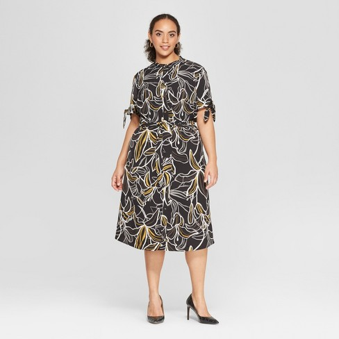 b44800f9f38 Women s Plus Size Floral Print Short Sleeve Knotted Midi Shirtdress - Who  What Wear™ Black 4X   Target