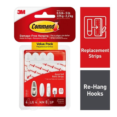 Command Refill Strips (8 Small/4 Medium/4 Large) White