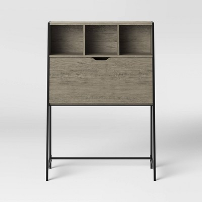 Loring Wood Secretary Desk with Hutch Gray - Project 62™