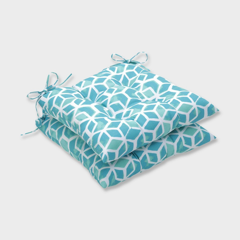 2pk Celtic Surfside Wrought Iron Outdoor Seat Cushions Blue - Pillow Perfect