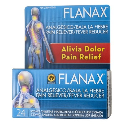 Flanax Pain Reliever/Fever Reducer Tablets - Naproxen Sodium (NSAID) - 24ct