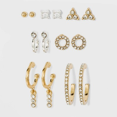Pave Hoop and Charm Hoop Earring Set 8pc - A New Day™