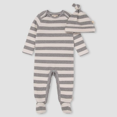 Burt's Bees Baby® Baby Thermal Stripe Jumpsuit & Knot Top Hat Set - Gray 3-6M