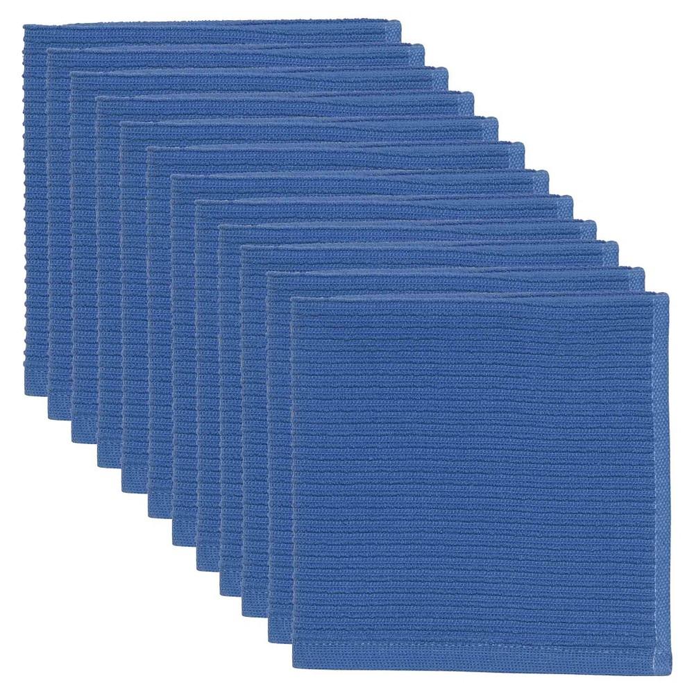 Image of Royal Blue Turkish Cotton Ripple Dishcloths Set Of 12)