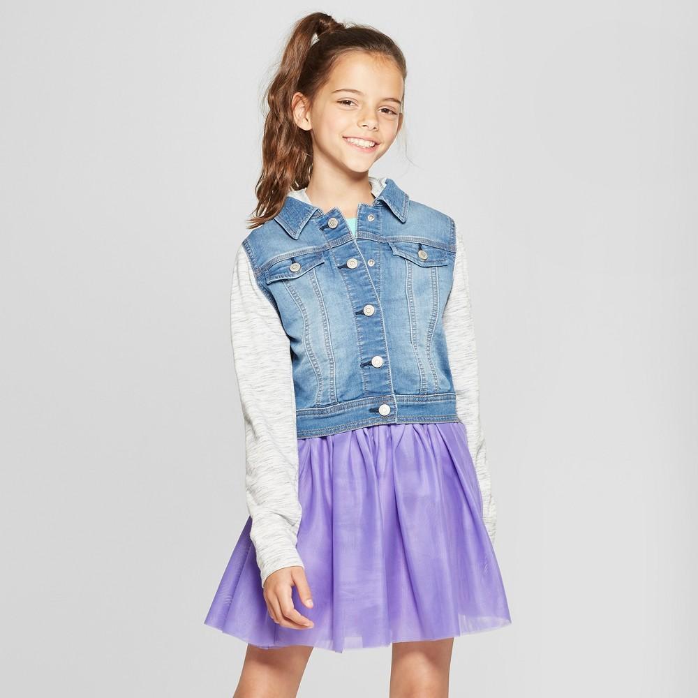 Girls French Terry Long Sleeve Hoodie Denim Jacket Cat Jack 8482 Medium Blue Xs