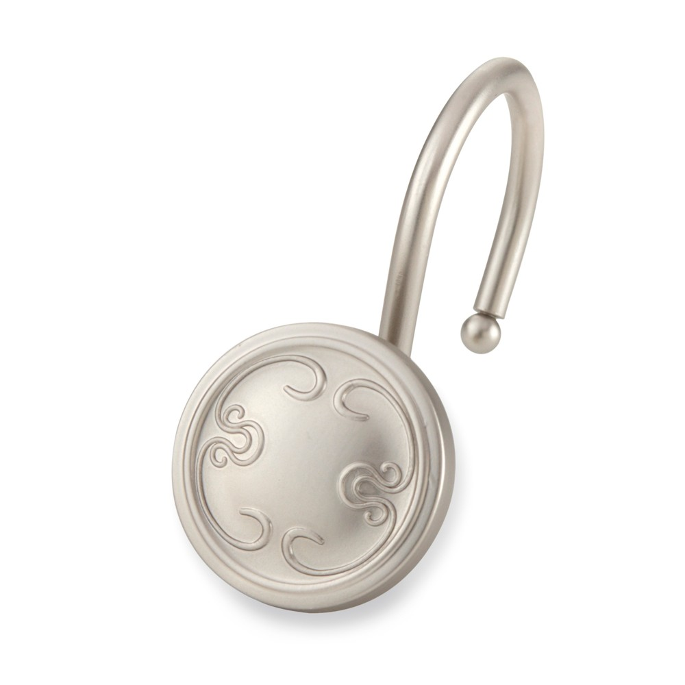 Image of Shower Curtain Hooks Elegant Home Fashion Dark Silver
