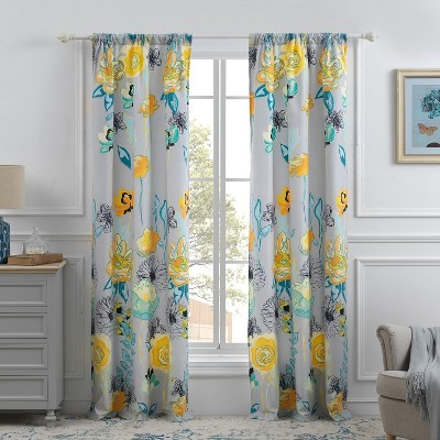 Greenland Home Fashions Watercolor Dream Curtains - 42 x 84, Gray