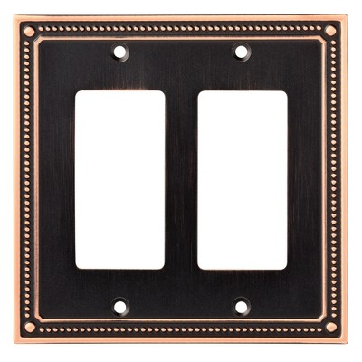Franklin Brass Classic Beaded Double Decorator Wall Plate Bronze With Copper Highlights
