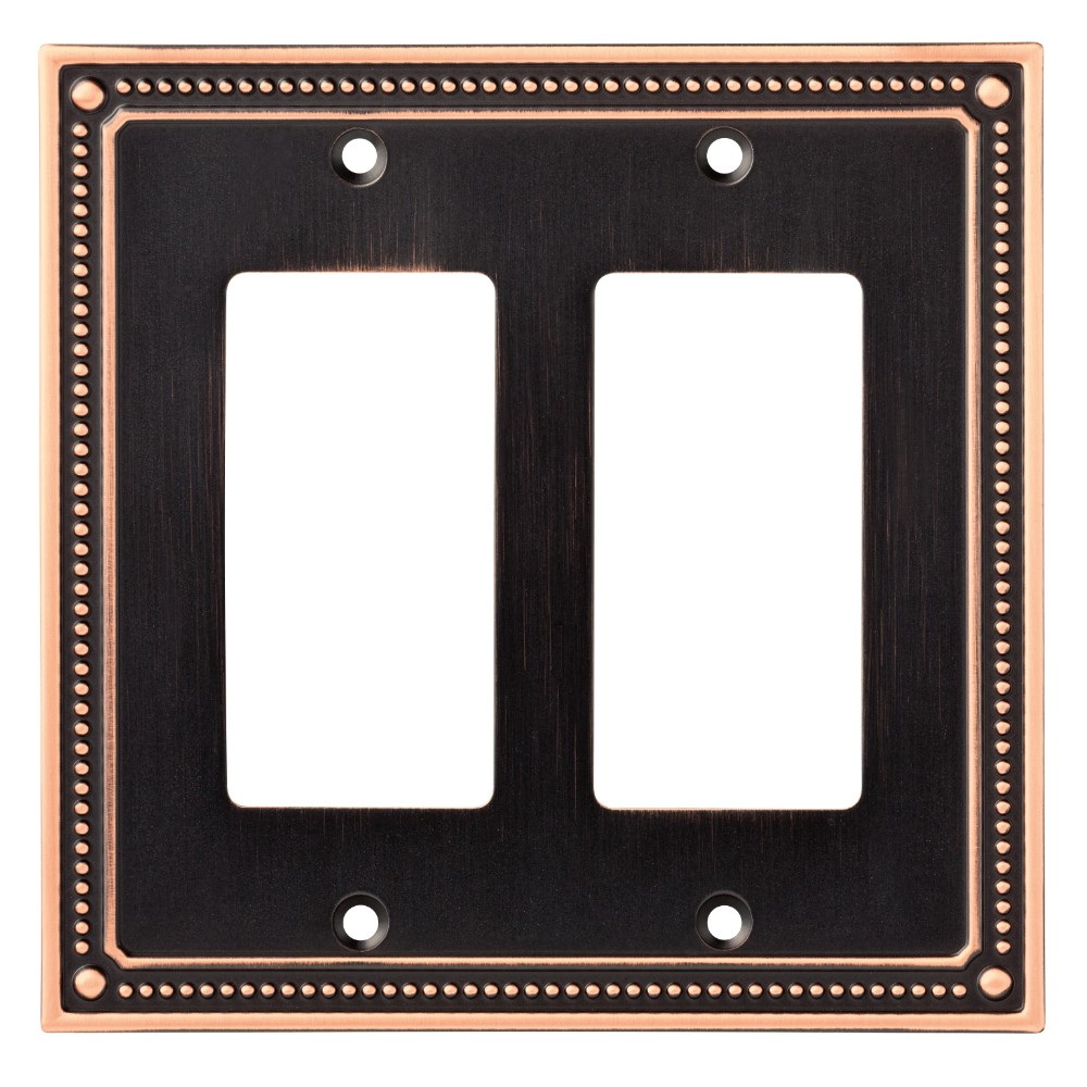 Classic Beaded Double Decorator Wall Plate Bronze With Copper Highlights - Franklin Brass