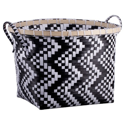 Medium Oval Woven Bin Black and White Pattern - Room Essentials™ - image 1 of 1