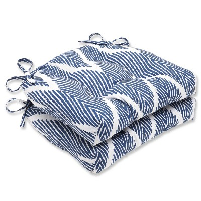 """Blue Bali Reversible Chair Pad (Set Of 2) (16""""X15.5"""") - Pillow Perfect"""