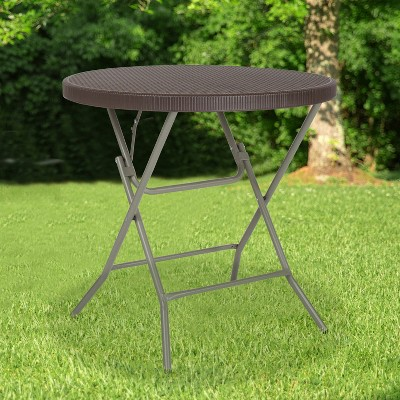 Emma and Oliver 2.6-Foot Round Brown Rattan Plastic Folding Table - Outdoor Event Table