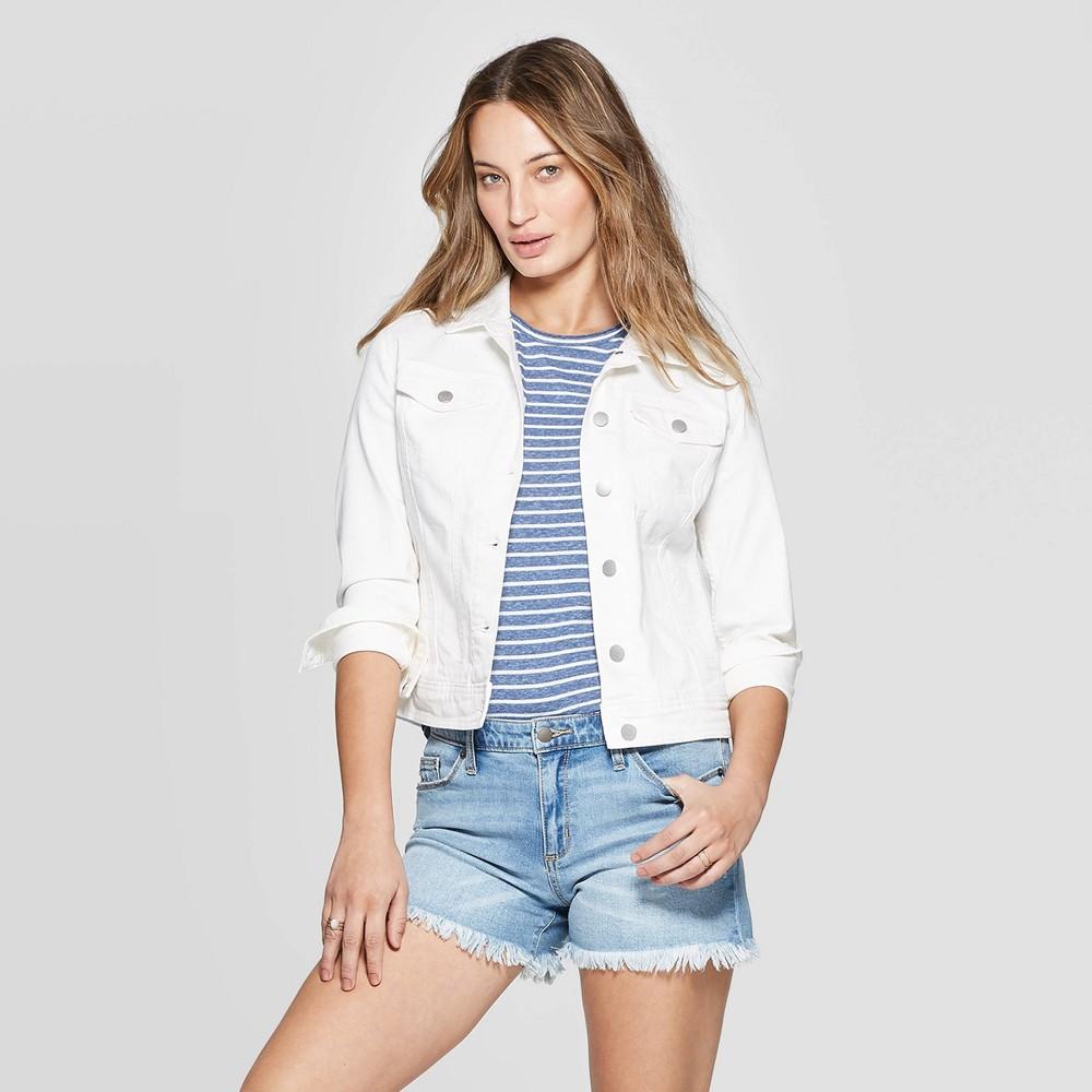 Best Price Women Full Sleeves Denim Jacket Universal Thread White L